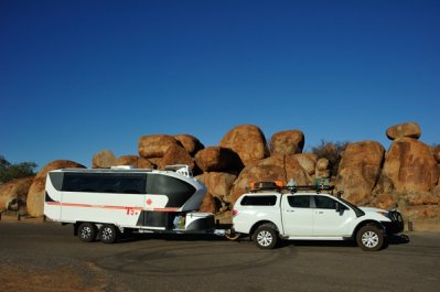Pulling into the Devils Marbles.