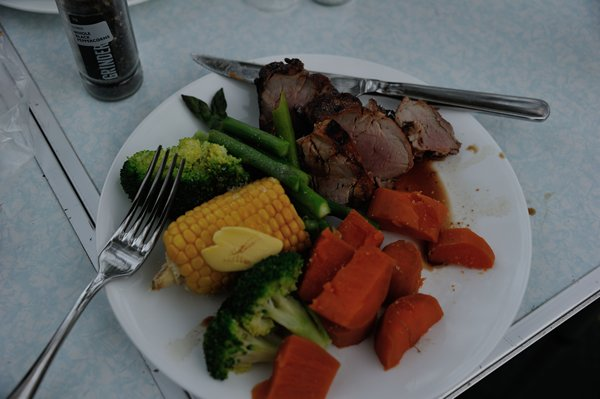 Nice first night meal at Alice Springs of roast pork fillet and veggies!