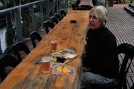 Lunch on a cold day at the Woolshed Brewery near Renmark.