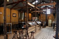 Inside the old shearing shed at the Brewery.