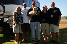 Joe & Jackie, Mike with Angel the dog, and Pauline & I at Broken Hill.